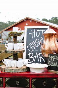 hot chocolate bar for fall weddings