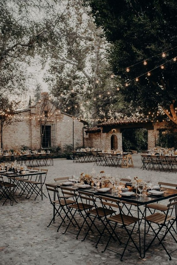 industrial fall wedding reception ideas with string lights