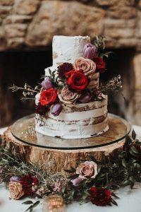 mauve blush and burgundy fall wedding cake