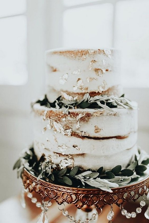 metallic fall wedding cake with greenery