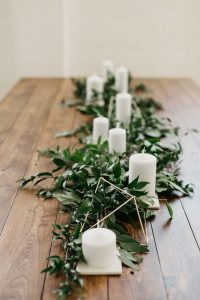 minimalist greenery wedding table garland ideas with candles