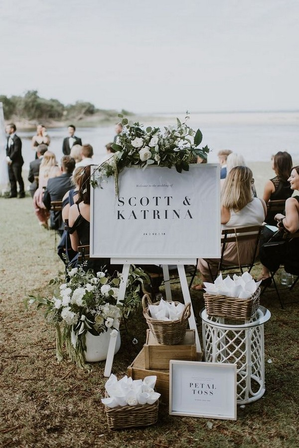 modern chic white and greenery wedding welcome sign