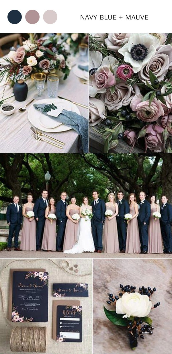 navy blue and mauve fall wedding color ideas
