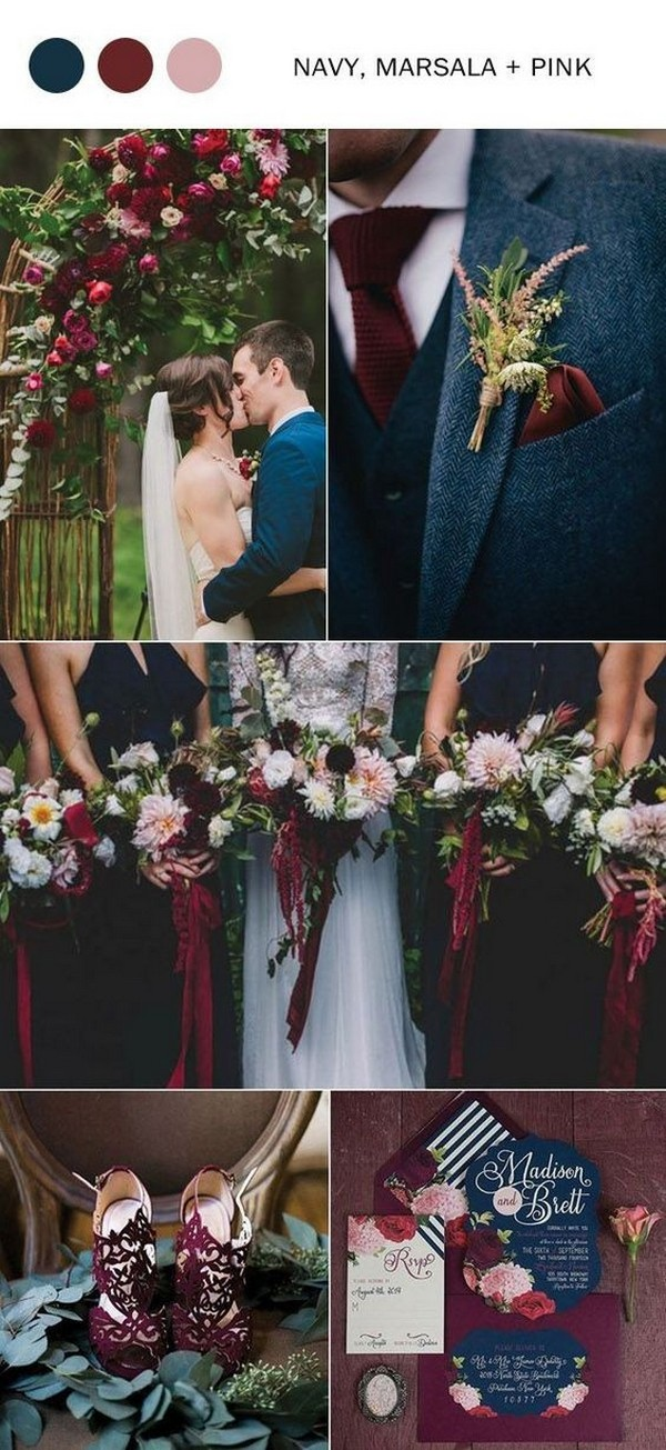 navy blue marsala and blush fall wedding color ideas