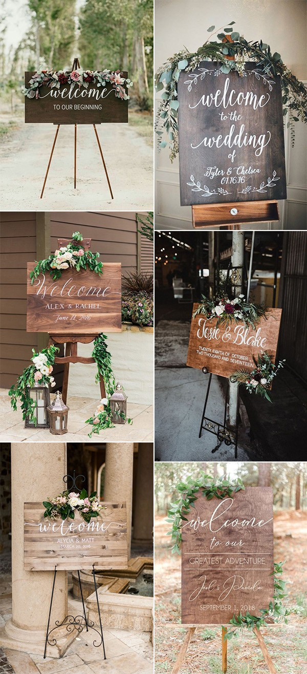 outdoor chic wooden wedding welcome signs