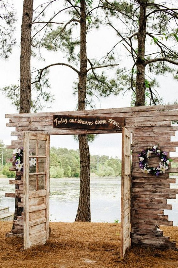 outdoor rustic wedding ceremony entrance