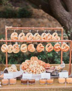 pretzel snack bar for fall wedding reception