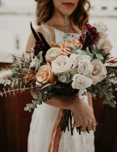 romantic bohemian fall wedding bouquet with roses