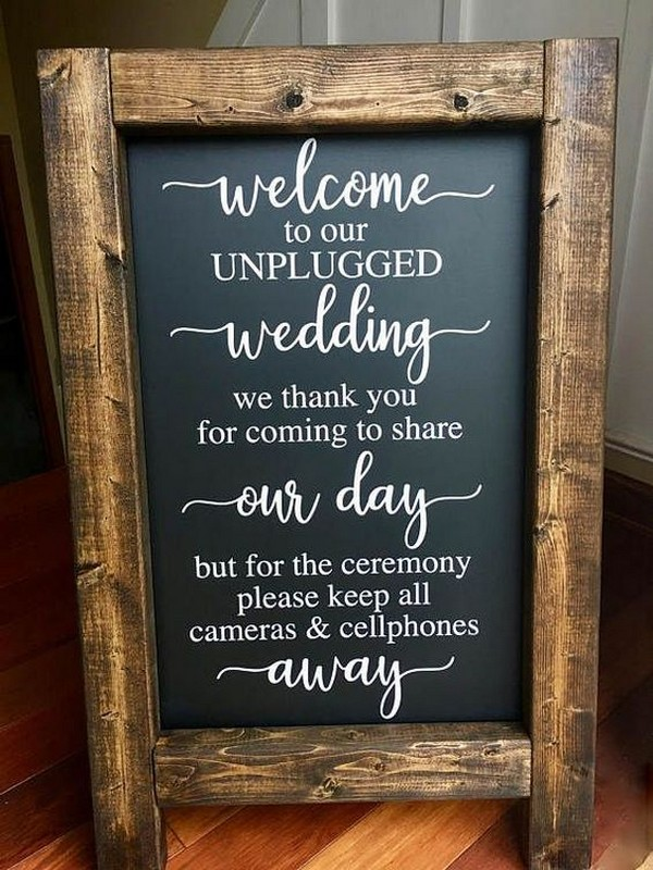 rustic chalkboard wedding welcome sign ideas