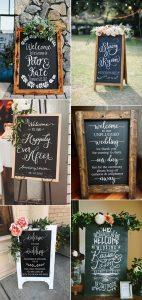 rustic chalkboard wedding welcome signs