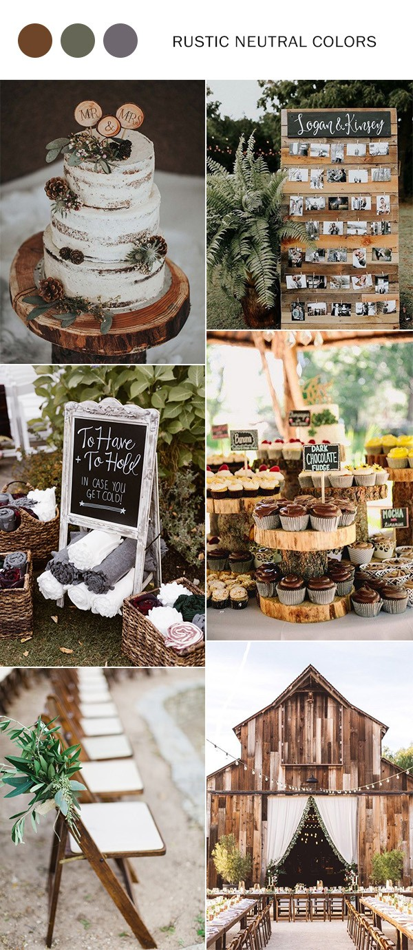 rustic neutral fall wedding color ideas