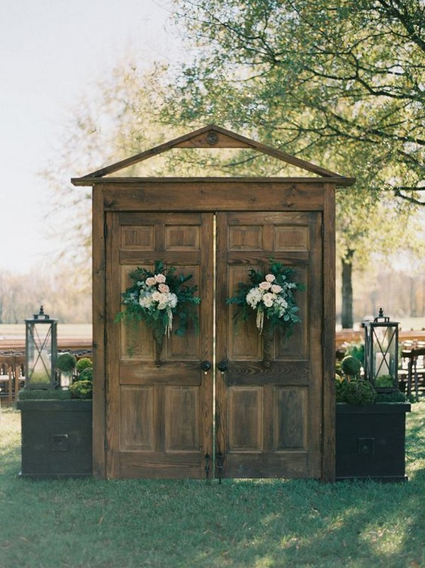 rustic outdoor wedding entrance decoration ideas