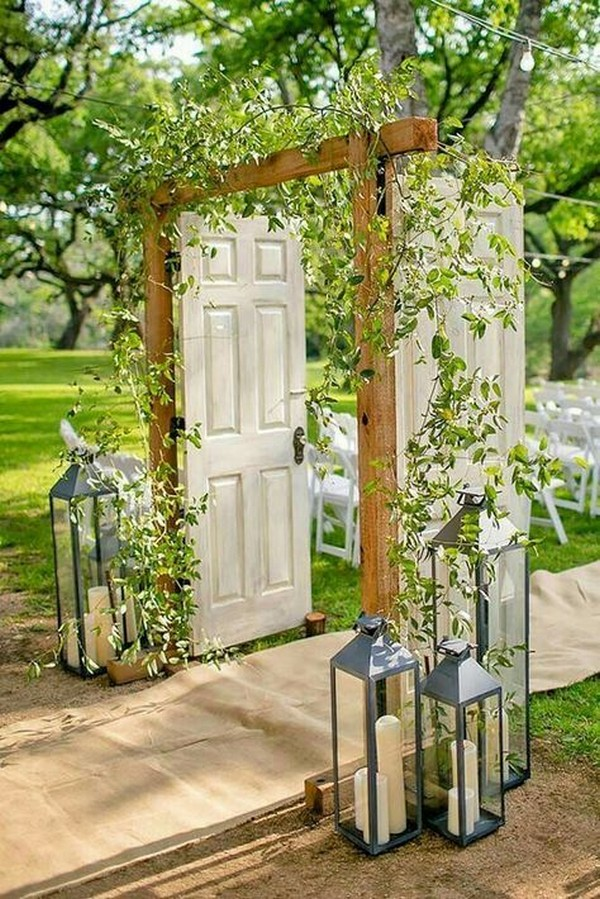 rustic outdoor wedding entrance ideas