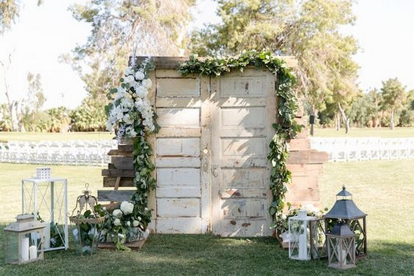 rustic vintage door wedding ceremony entrance