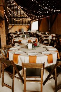 rustic wood and orange fall wedding reception ideas