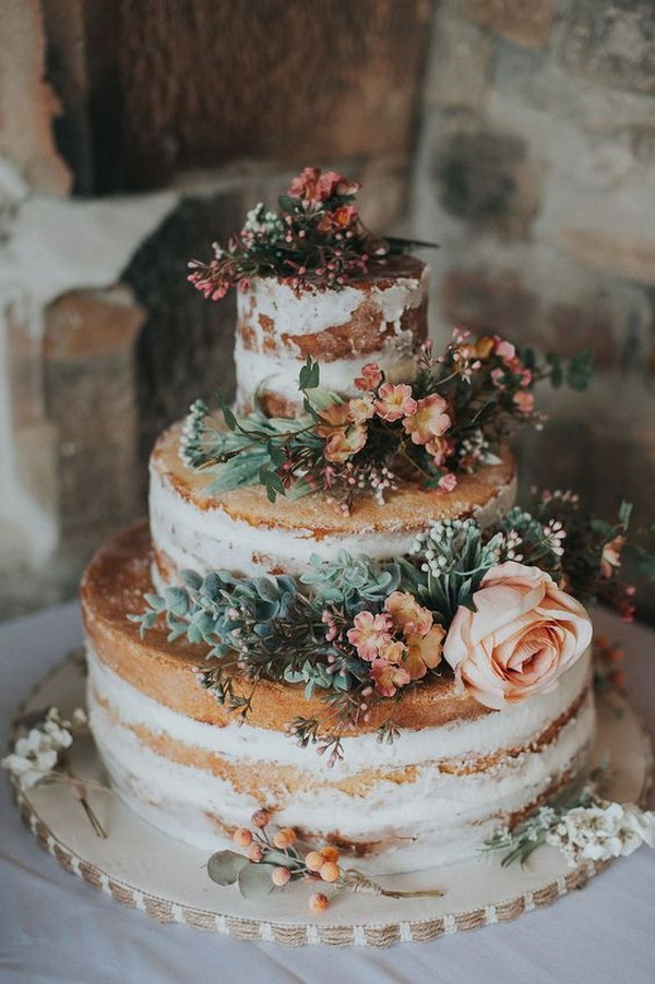 semi naked fall wedding cake with floral