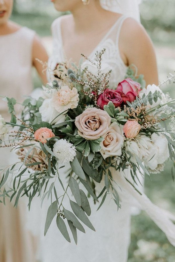 shades of pink and green boho chic wedding bouquet
