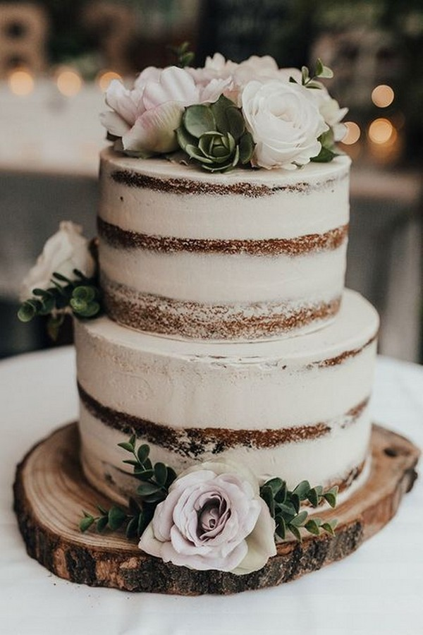simple rustic fall wedding cake with flowers and succulents
