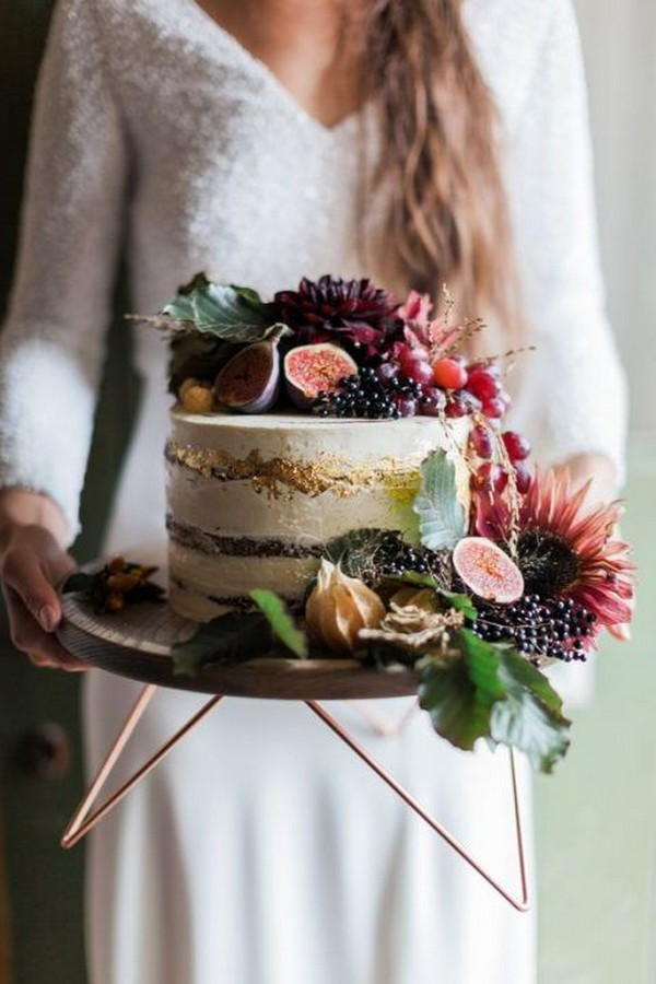 single layer fall wedding cake with fruits
