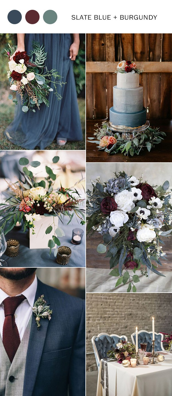 slate blue and burgundy fall wedding color ideas