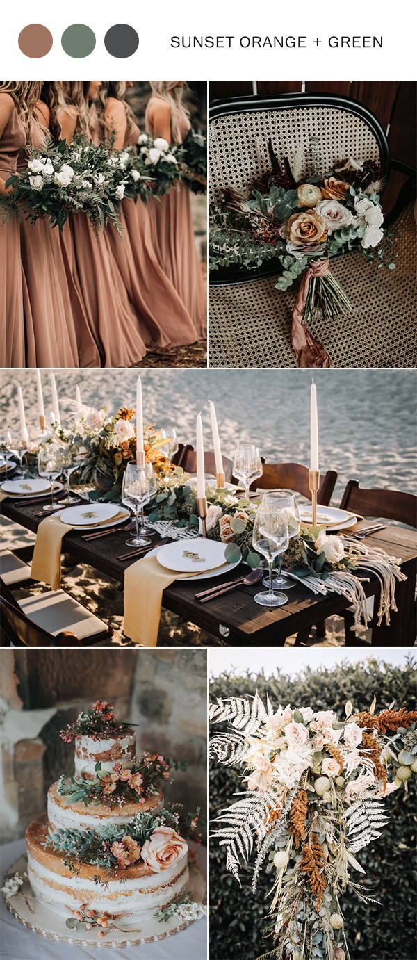 sunset orange and greenery fall wedding color ideas