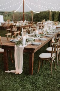 tented fall wedding reception ideas for long tables