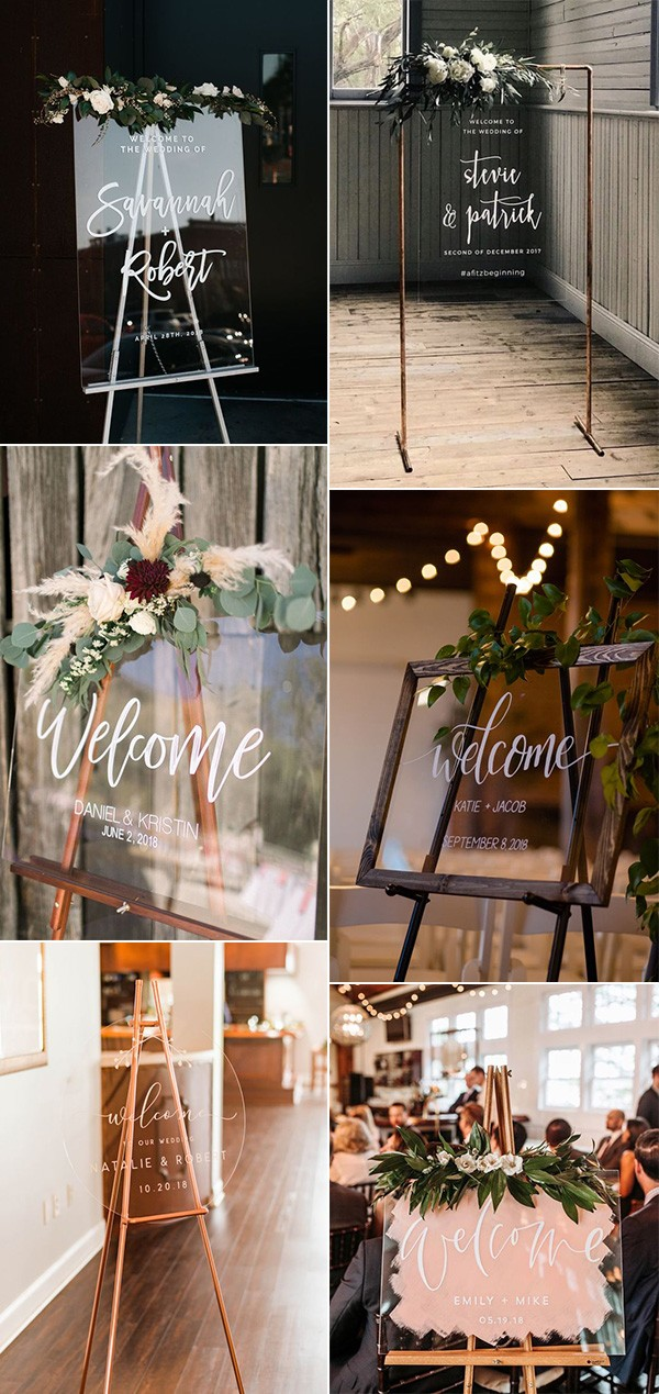 trending acrylic chic wedding welcome signs