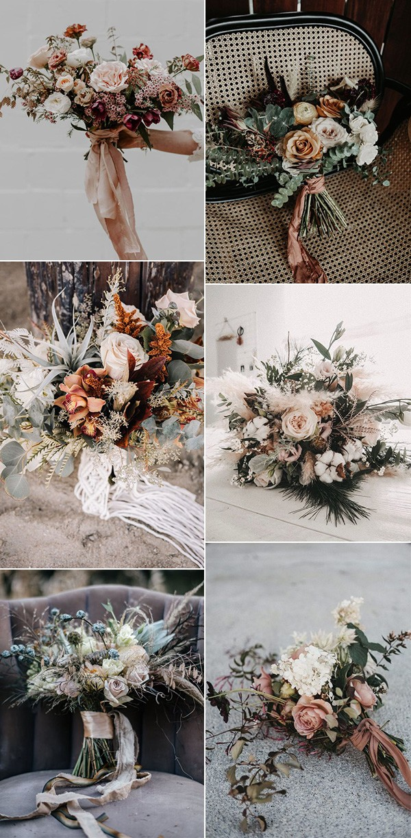 trending boho chic wedding bouquets
