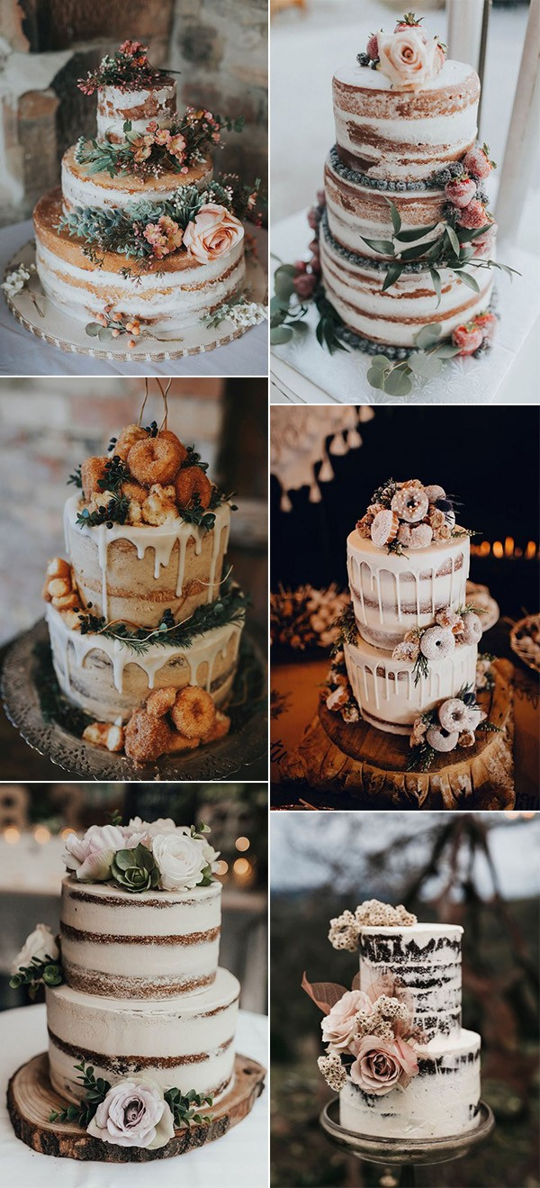 trending semi naked fall wedding cakes
