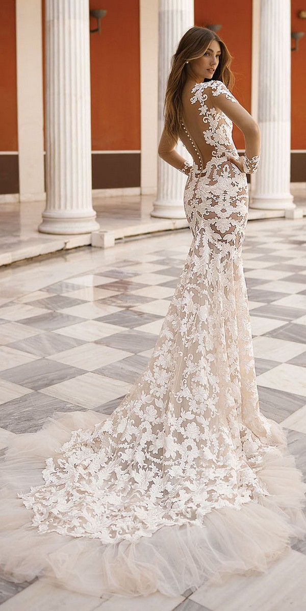 vintage floral illusion wedding dress back view from Berta 2019 collection Style 19-116