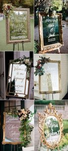 vintage gold frame wedding welcome signs