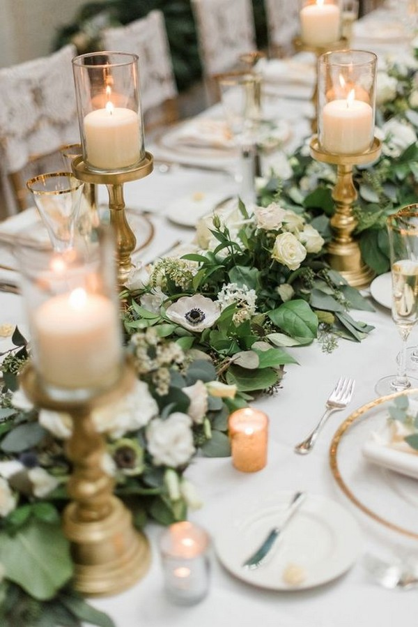 vintage greenery wedding table runner with candles