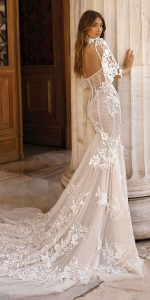 vintage high neck lace wedding dress with lace cover back view berta style 19-103