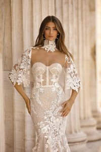 vintage high neck lace wedding dress with lace cover from berta style 19-103