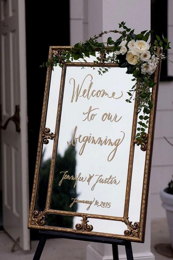 vintage mirror wedding welcome sign ideas