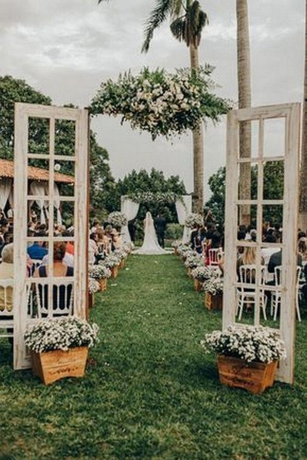 vintage rustic outdoor wedding entrance ideas with old door
