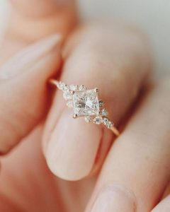 vintage sparkle rose gold wedding engagement ring
