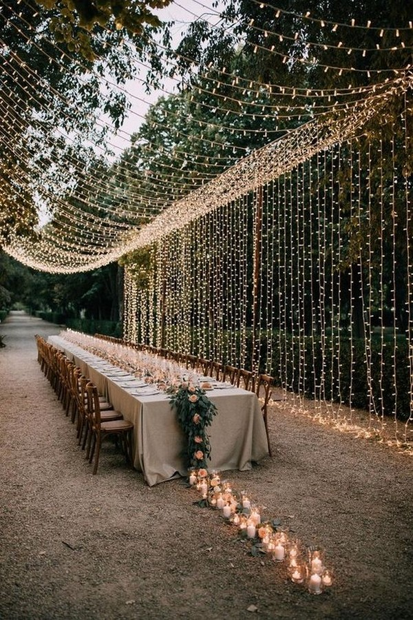 whimsical fall wedding reception ideas with string lights