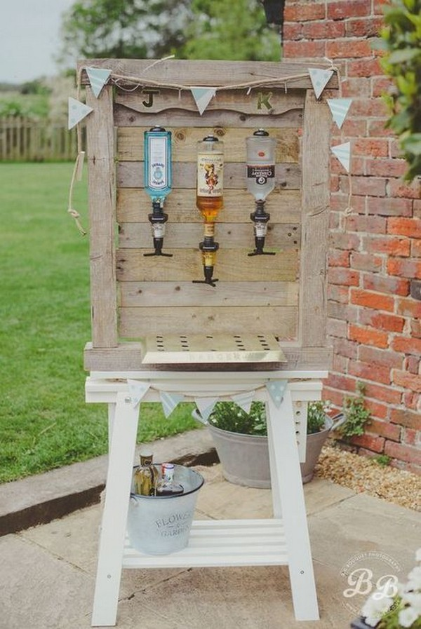 DIY country wedding drink bar ideas