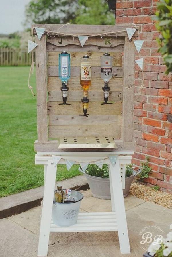 DIY country wedding drink bar ideas
