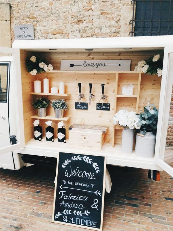 backyard fall wedding drink bar ideas