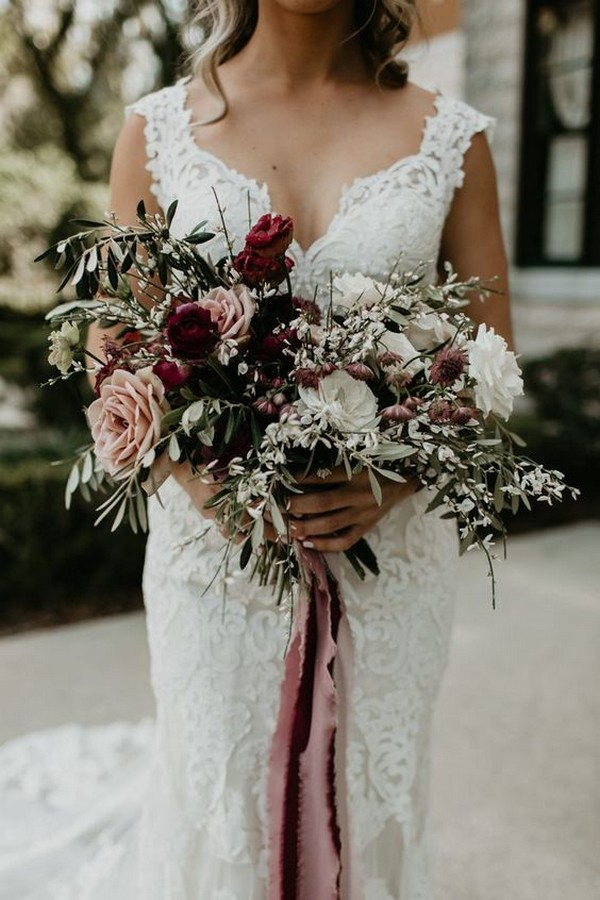 boho dusty rose and burgundy wedding bouquet