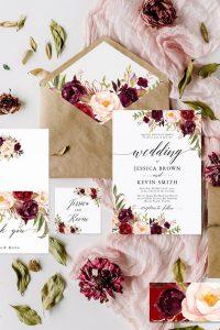 burgundy and blush floral fall wedding invitations