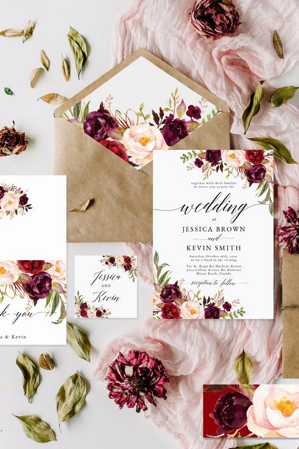 burgundy and blush floral fall wedding invitations