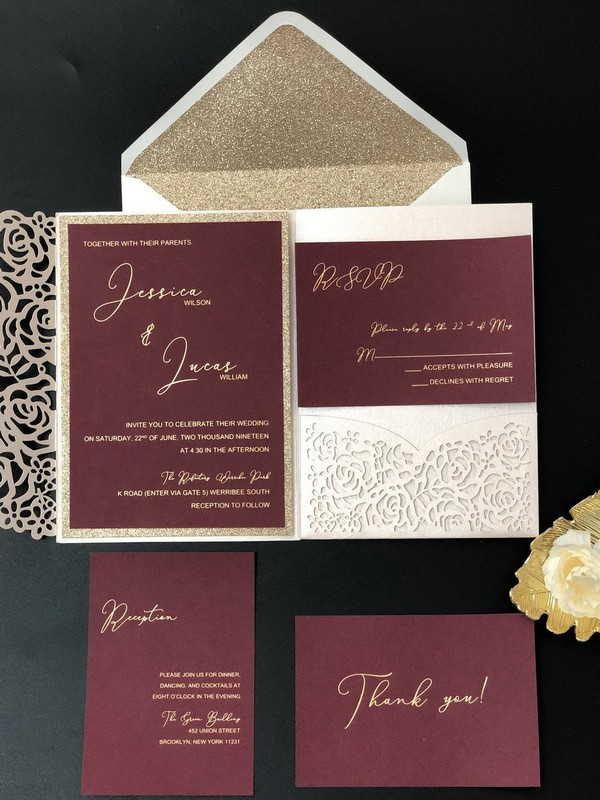 burgundy and gold fall laser cut wedding invitations