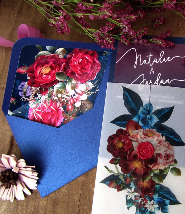 burgundy and navy fall floral wedding invitations with vellum paper