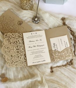champagne gold fall laser cut wedding invitations