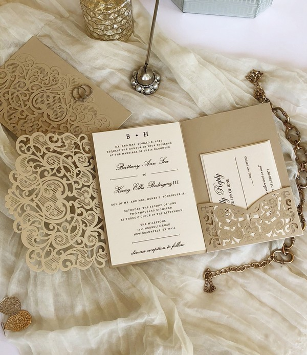 champagne gold fall laser cut wedding invitations