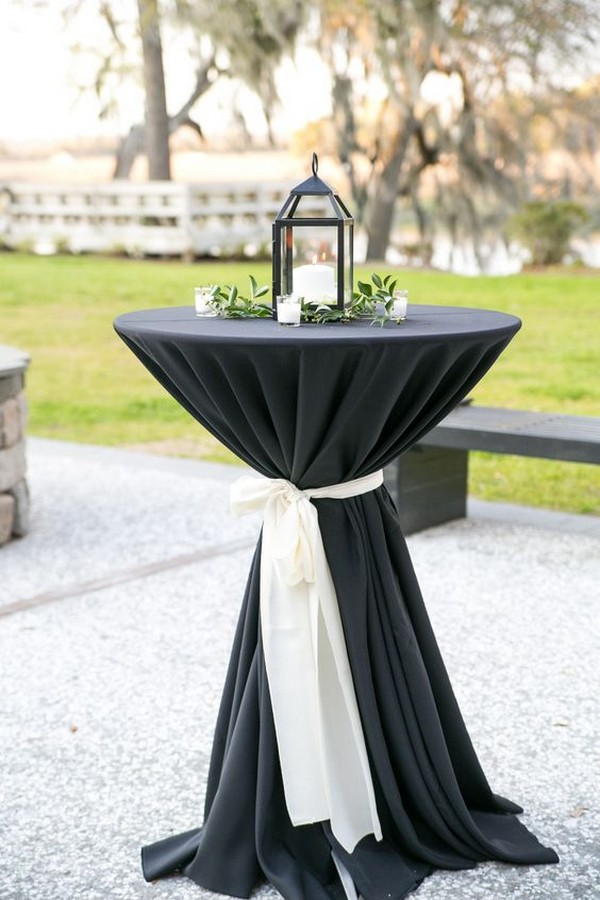 chic black and white wedding table decoration ideas