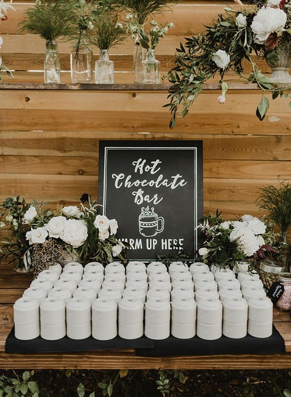 chic rustic wedding hot chocolate bar ideas